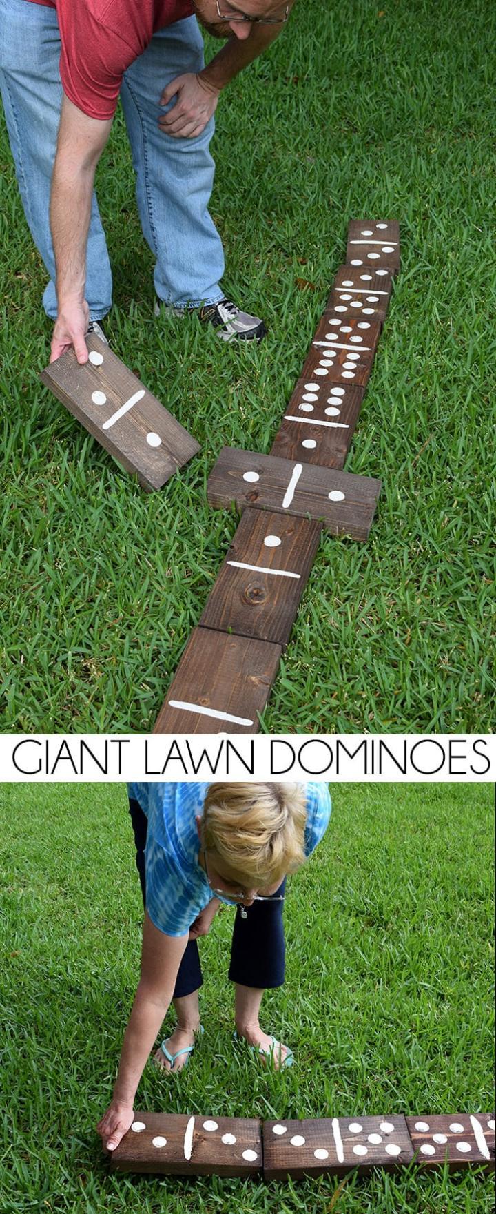 DIY giant lawn dominoes