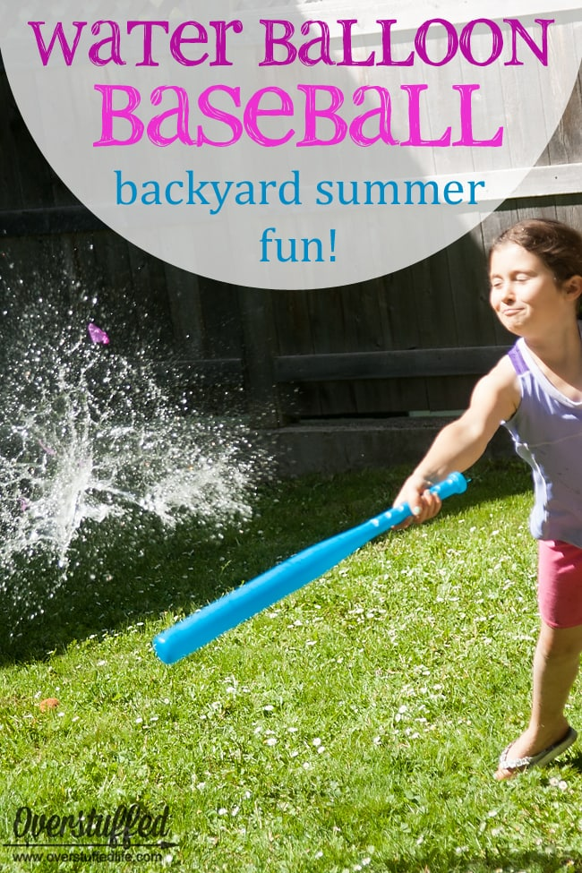 Water Balloon baseball, super-fun backyard party game plus lots of other backyard game ideas to check out.