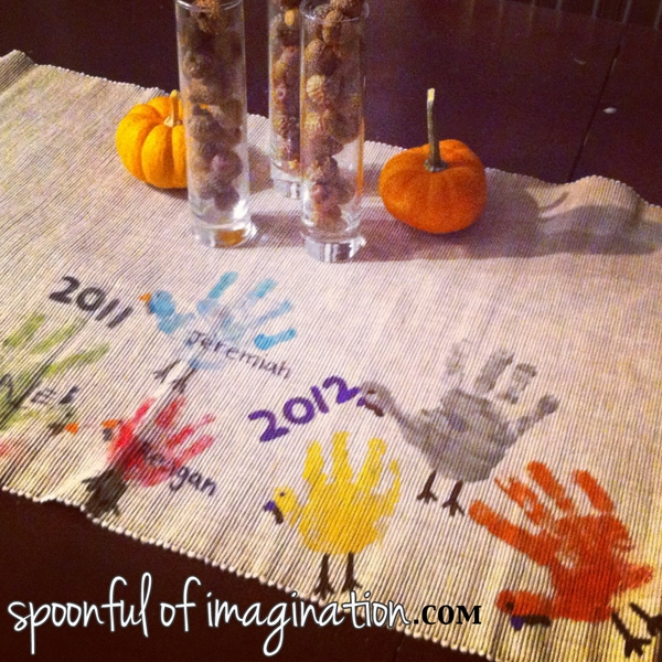 Handprint turkey table runner tradition idea.