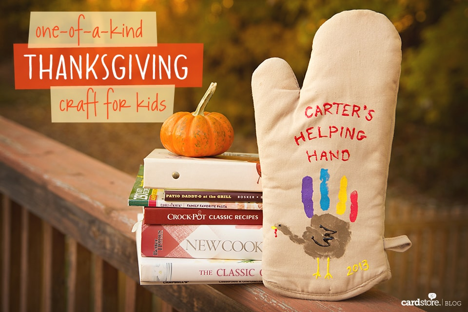 Create a special memory with your special kitchen helper this year with these adorable turkey handprint oven mitts!