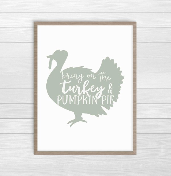 Farmhouse turkey print for Thanksgiving decor. #FarmhouseDecor #ThanksgivingDecor #FreePrintables