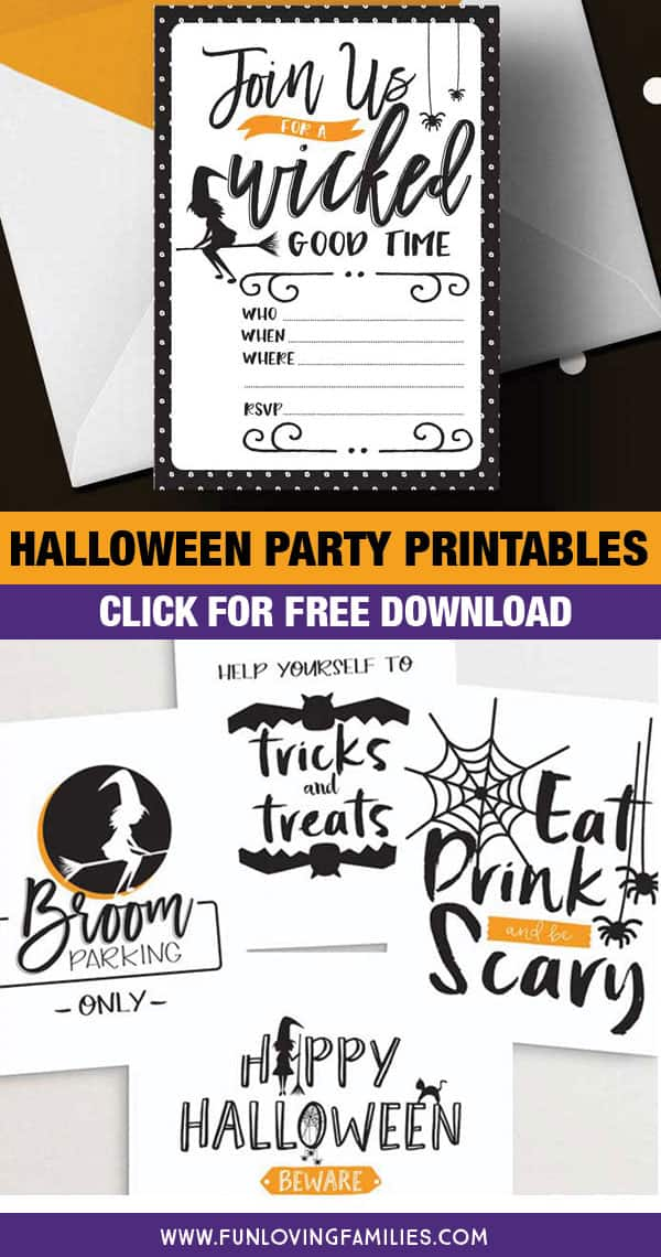 Grab these adorable free Halloween party printables. Click through for the free download! #halloweenparty #freeprintables #halloween