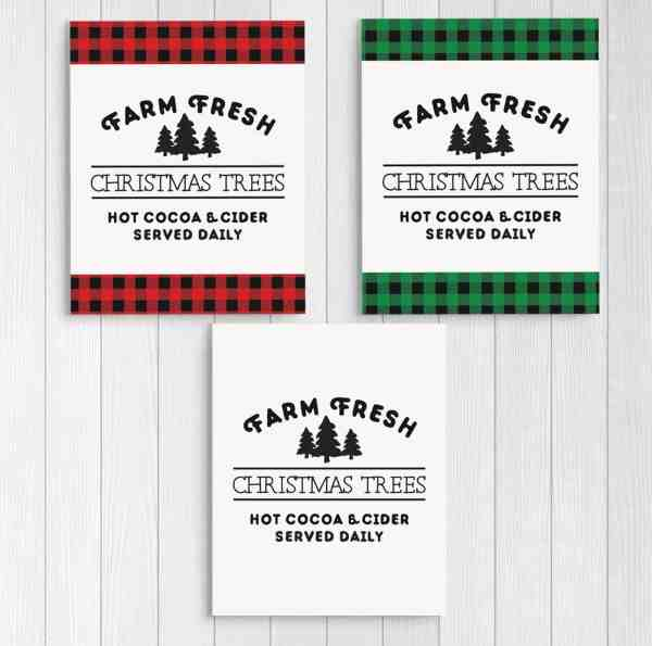These Farm Fresh Christmas Trees signs are just what I've been looking for to complete my farmhouse Christmas decor. These are free printables. #FreePrintables #FarmhouseChristmasDecor #BuffaloCheck #EasyChristmasDecor