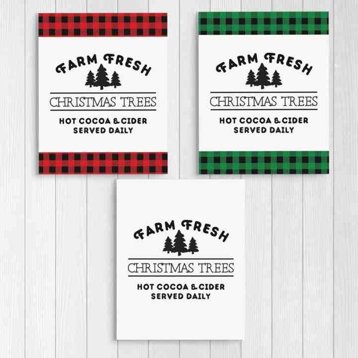 farm fresh Christmas trees printable signs for farmhouse decor