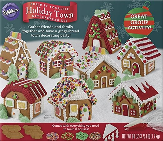 There are plenty of gingerbread houses for lots of friends to join in the decorating fun. Use this kit for your next gingerbread house decorating party.