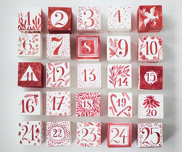 Hide special treats in the free printable Christmas Countdown boxes for a wonderful DIY adent calendar. #FreePrintableChristmas