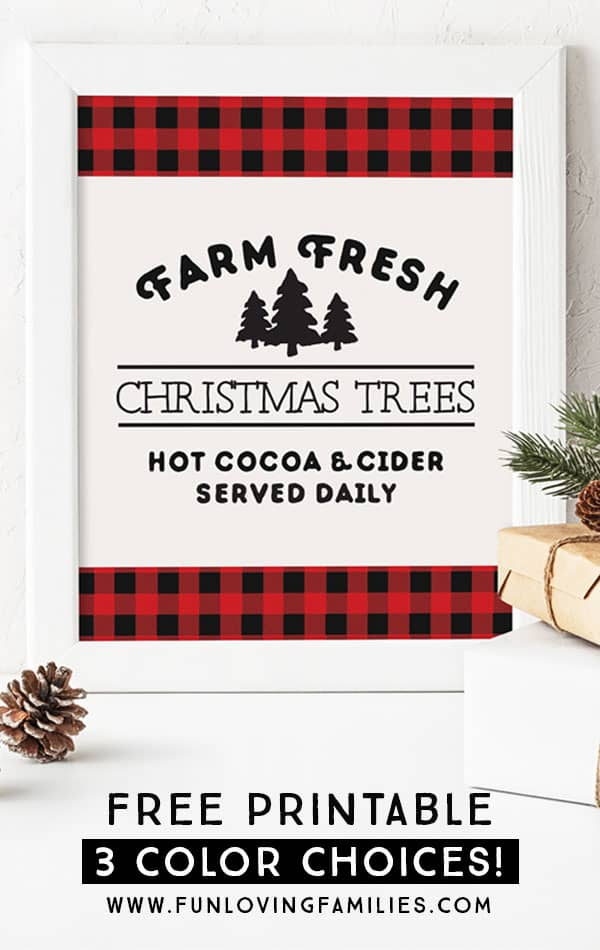 Grab this Farm Fresh Christmas Trees free printable to add to your Christmas decorations. Perfect for plaid Christmas decor. Visit for more color options. #christmasdecor #plaid #christmas #freeprintable