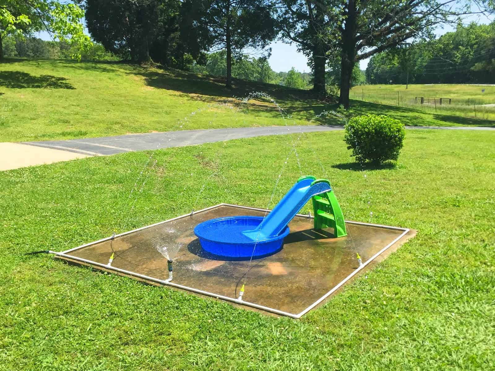 This easy DIY splash pad (via Little White House Blog) is just one of many amazing DIY backyard play areas you can make to keep the kids playing outside longer.