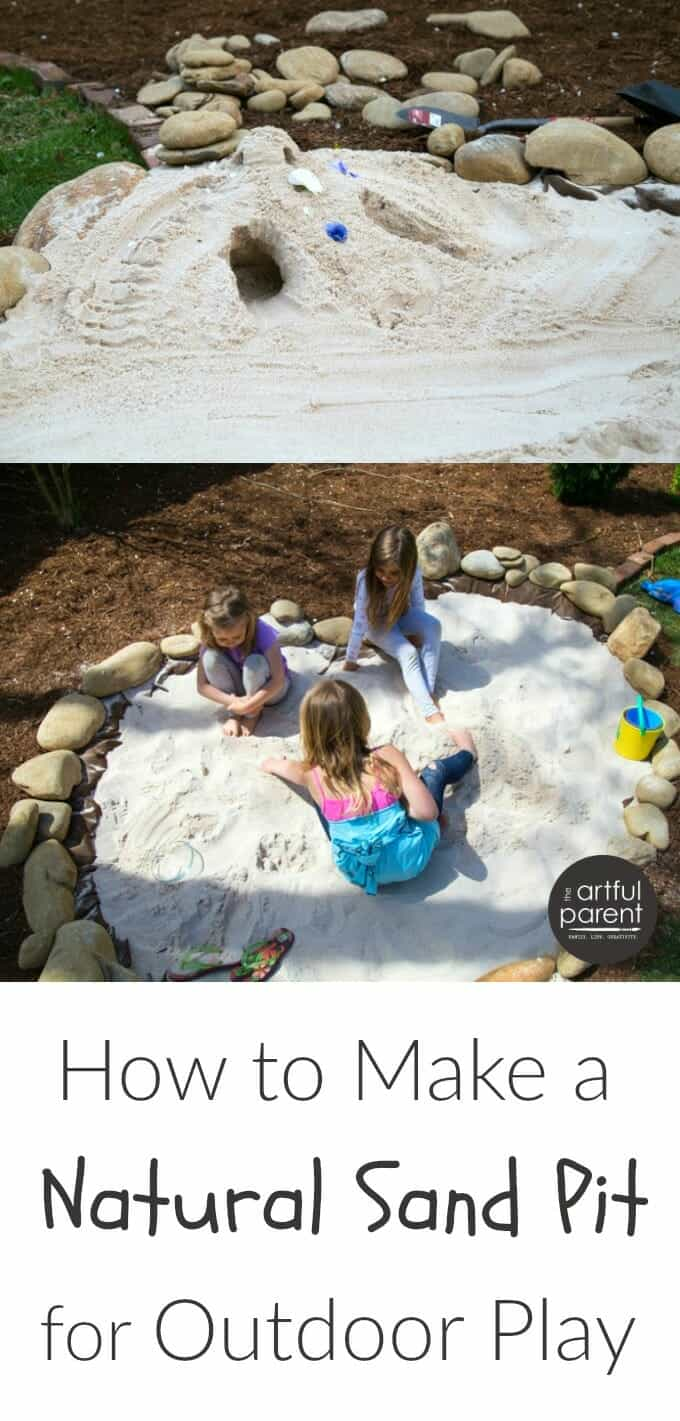 Looking for ways to get kids to spend more time outside? Learn how you can create a beautiful, natural sand play area for the kids (via The Artful Parent), right in the backyard.