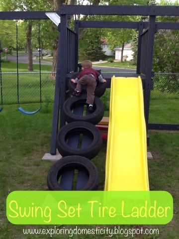 Check out this super-fun DIY kids playset hack (via Exploring Domesticity). See how to switch out the old vertical ladder for this fun tire climbing ladder.