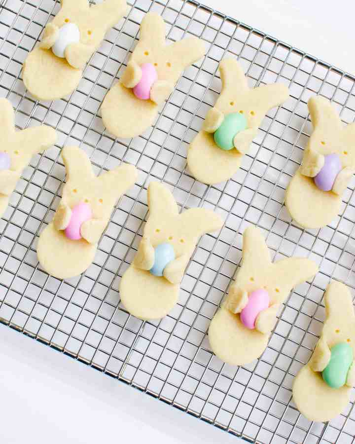 Bunny hug cookies on cooling rack after baking