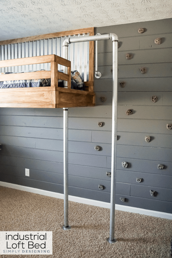 This bedroom climbing space is so clever and looks amazing. See how to make this loft bed with climbing wall and fireman's pole via Simply Designing.