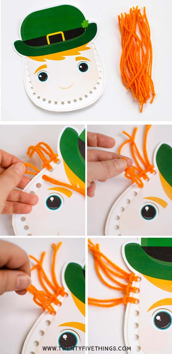 Instructions for making leprechaun beard using template