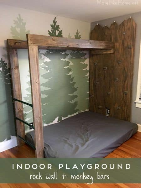 I love the woodsy feel of this bedroom climbing space for kids. Includes instructions on how to make climbing wall and monkey bars via More Like Home