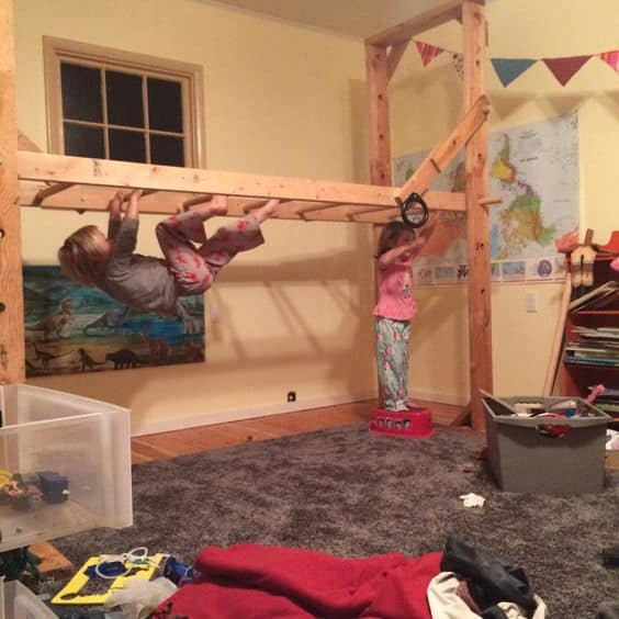 Very cool indoor climbing structure for kids to stay active during cold and rainy months.