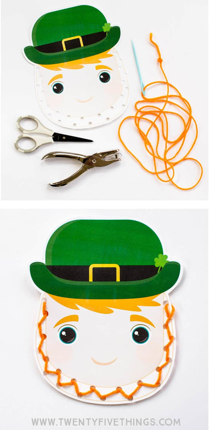 finished leprechaun lacing activity