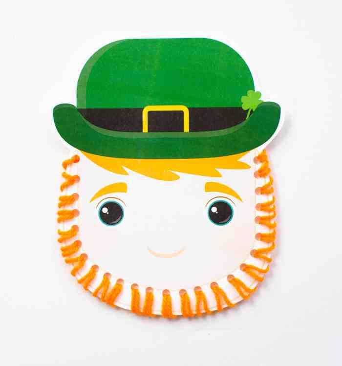 Make this leprechaun kids craft using orange yard and our free printable!
