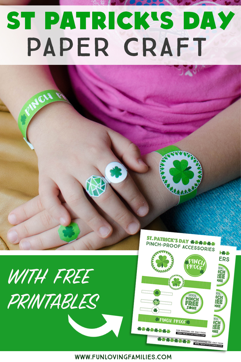 Grab these St. Patricks day printables to stay pinch proof no matter what you have on. Fun and simple paper craft for St. Patrick's Day. #stpatricksday #pinchproof #freeprintables #stpatricksdaycrafts