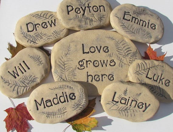 Love Grows Here personalized garden stone set, personalized gift idea for mom or grandma.