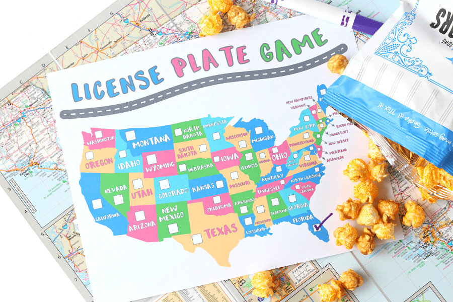 Print your own license plate game (from Raising Whasians) before your next long car trip with the kids. Click through for more fun road trip games for kids.