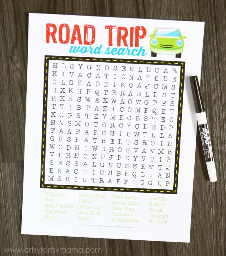 Free printable road trip word search travel game from Artsy Fartsy Mama. Click through for more fun road trip game ideas for kids.