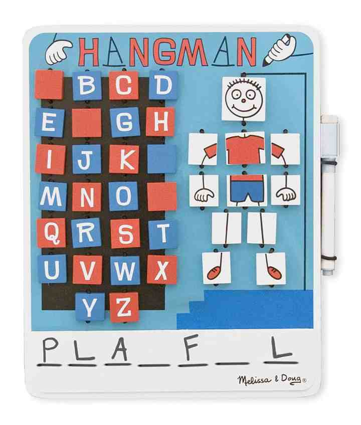 Melissa and Doug traveling hangman game is a family favorite. We've used it on long road trips for years.