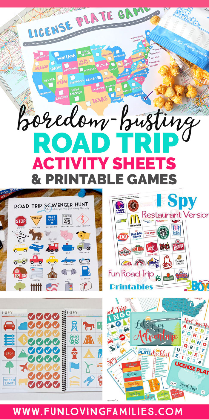 images of road trip activity sheets and printable games for kids