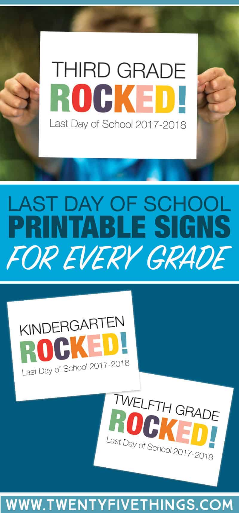 Print your own last day of school signs for fun photo ops with the kids!