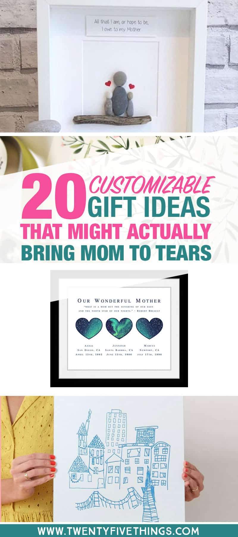 Personalized Mother's Day gift ideas. These are the special gifts Mom will love and cherish for years. Check out the custom gift ideas to find a unique gift for Mom or Grandma.