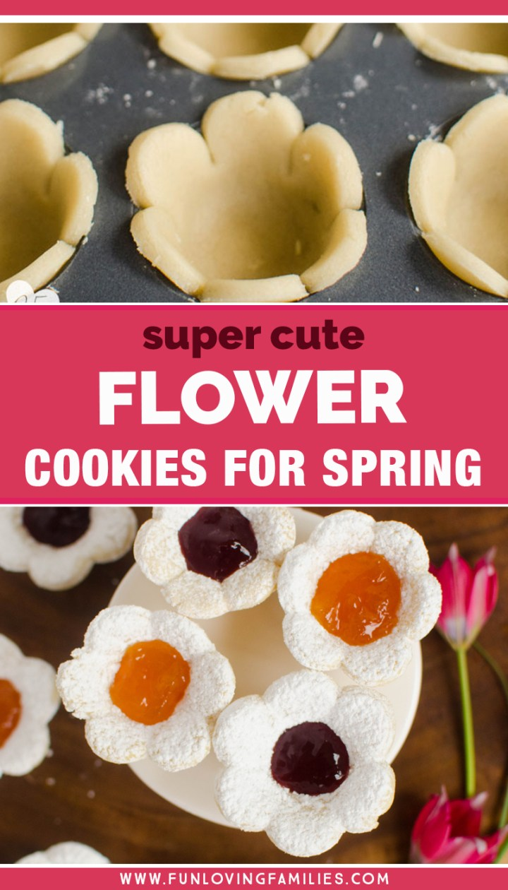 flower shaped cookies with jam filling