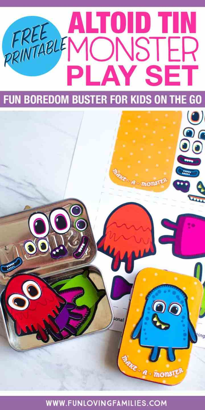 DIY make a monster play set for kids. Easy to make with free printable, magnet sheets, and a mint tin.