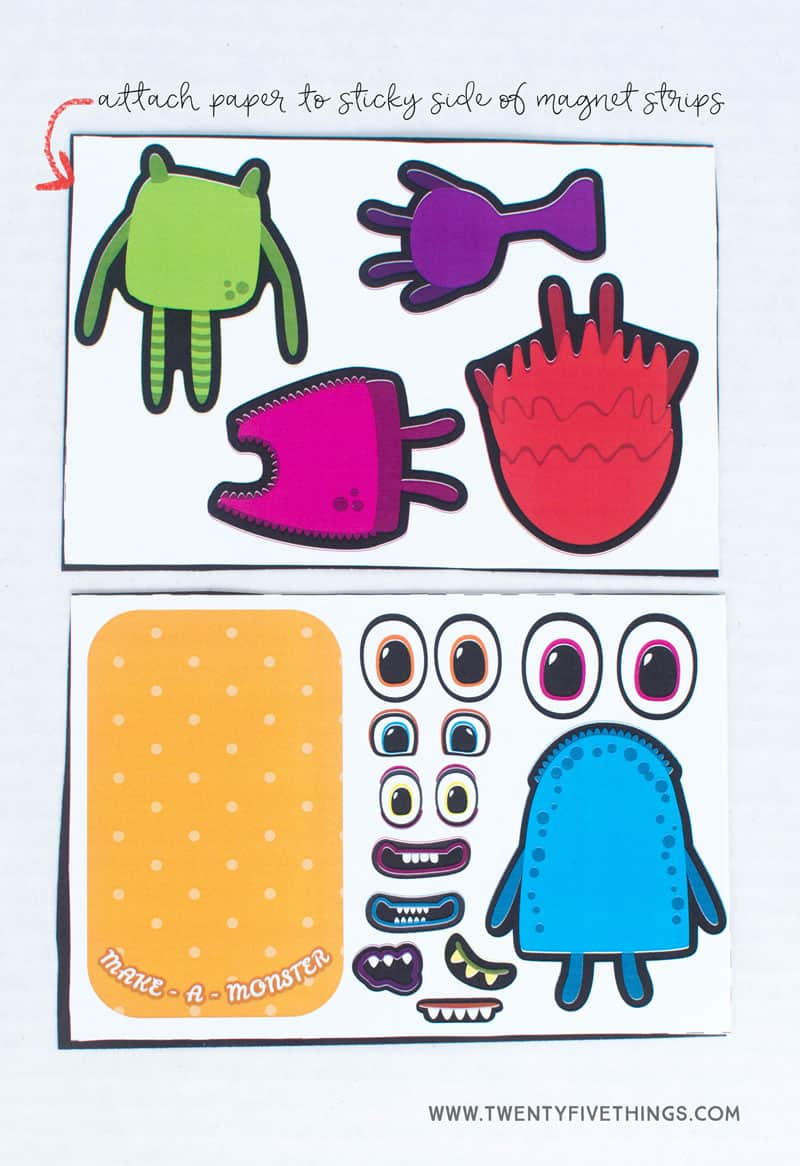 Monster activty for kids to use with Altoid tin. Use free printable with magnet sheets. Easy DIY travel game for kids.
