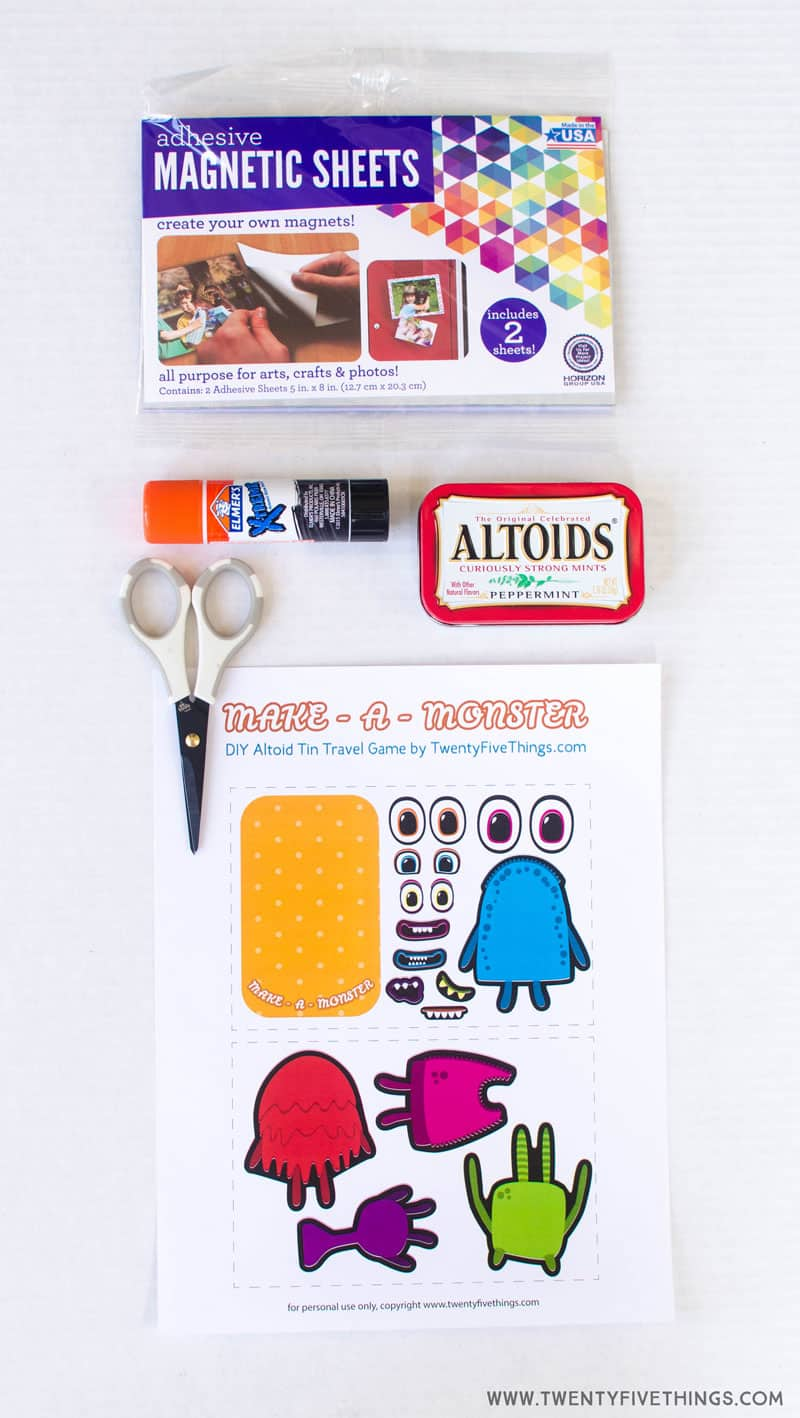 Printable and supplies for Make A Monster DIY kids activity.