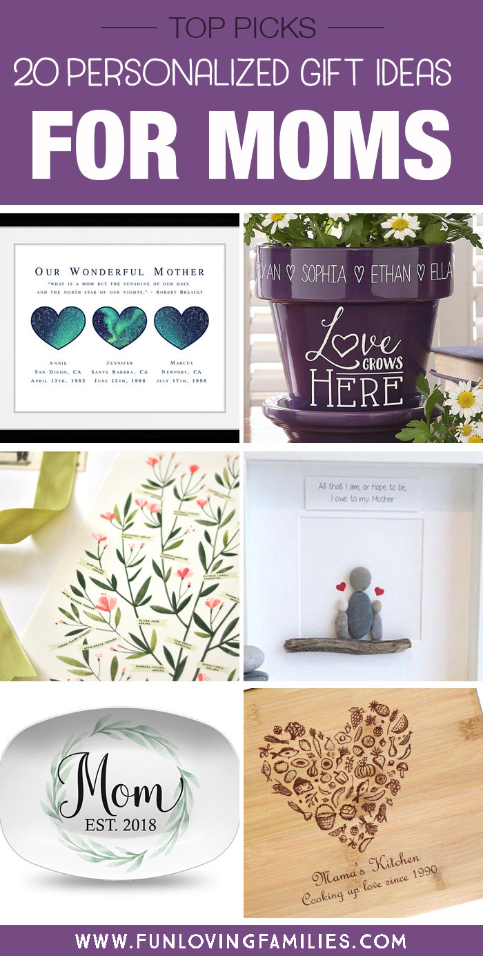 image showing different gift ideas for moms that can be personized