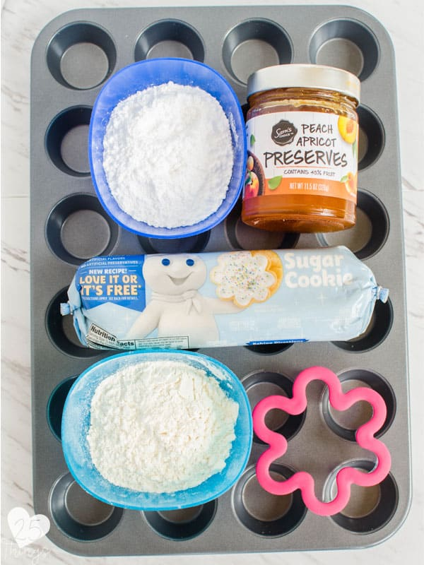 ingredients to make the flower shaped cookies