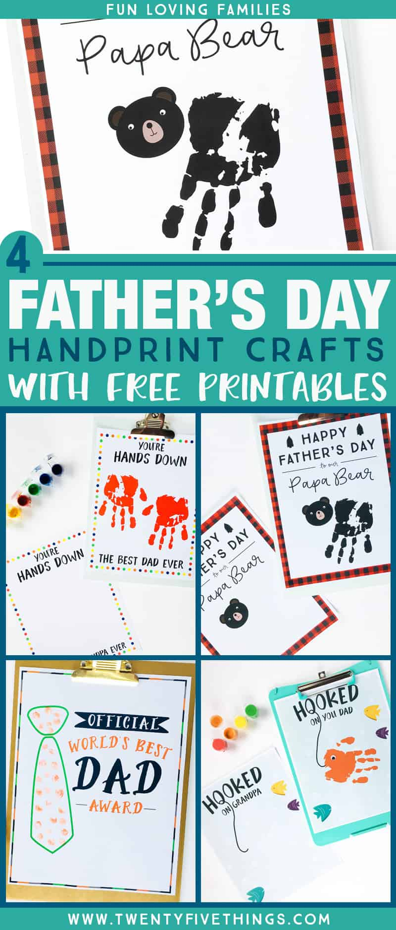Make an adorable Father's Day handprint craft with one of our free printables. We've also included options for Grandpa, so we've got you covered! #fathersday #freeprintable #handprintcraft #fromthekids #papabear