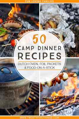 camp dinner recipes with foil packets, skewers, and dutch oven cooking.