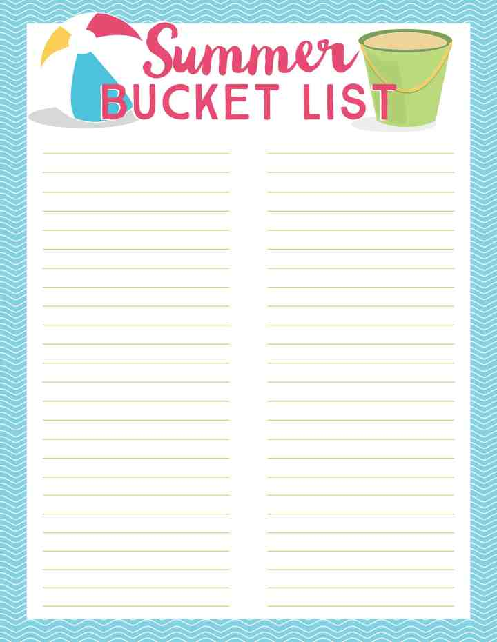 Use our free printable blank Summer Bucket List to create your own fun list of ideas for your family. Plus, click through to see 100 Summer Bucket List ideas.