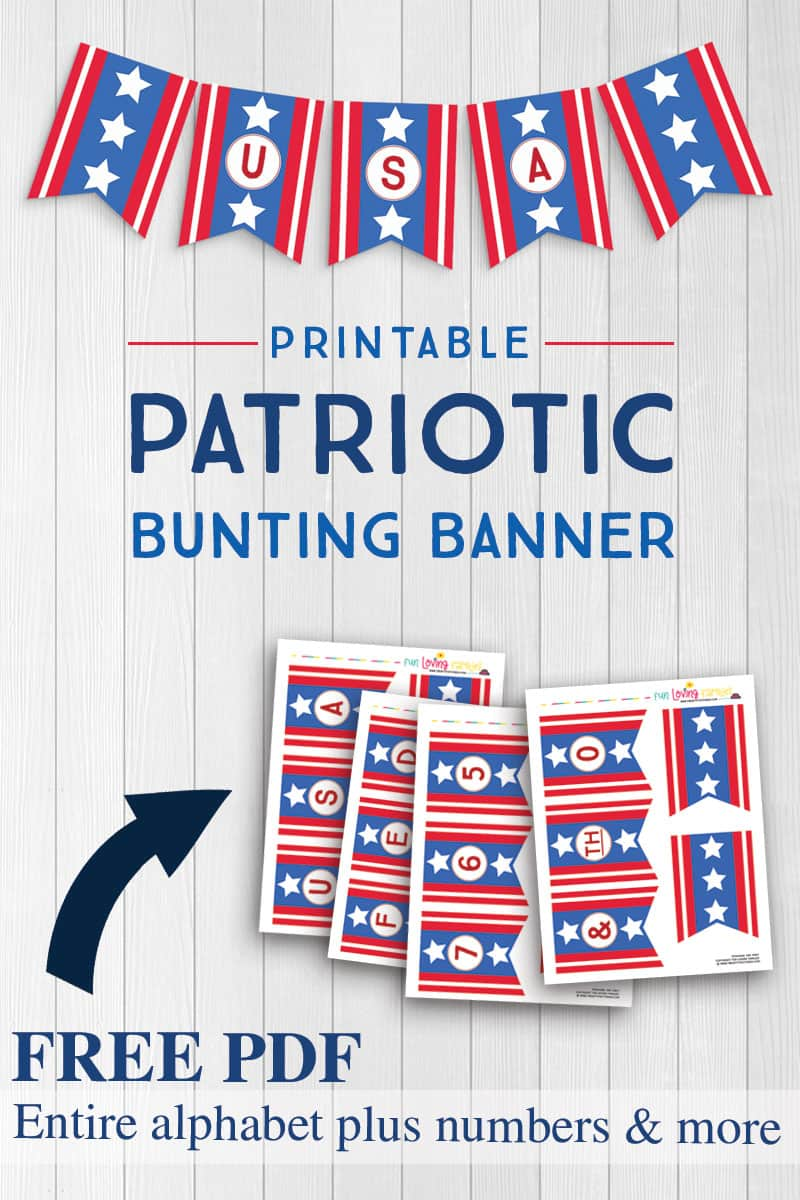 Use our free printable patriotic banner to create easy DIY patriotic decor.