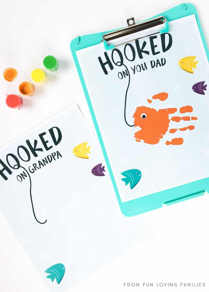 For the Dad or Grandpa who loves to fish: Make a sweet handprint craft with this free printable and your child's hand.
