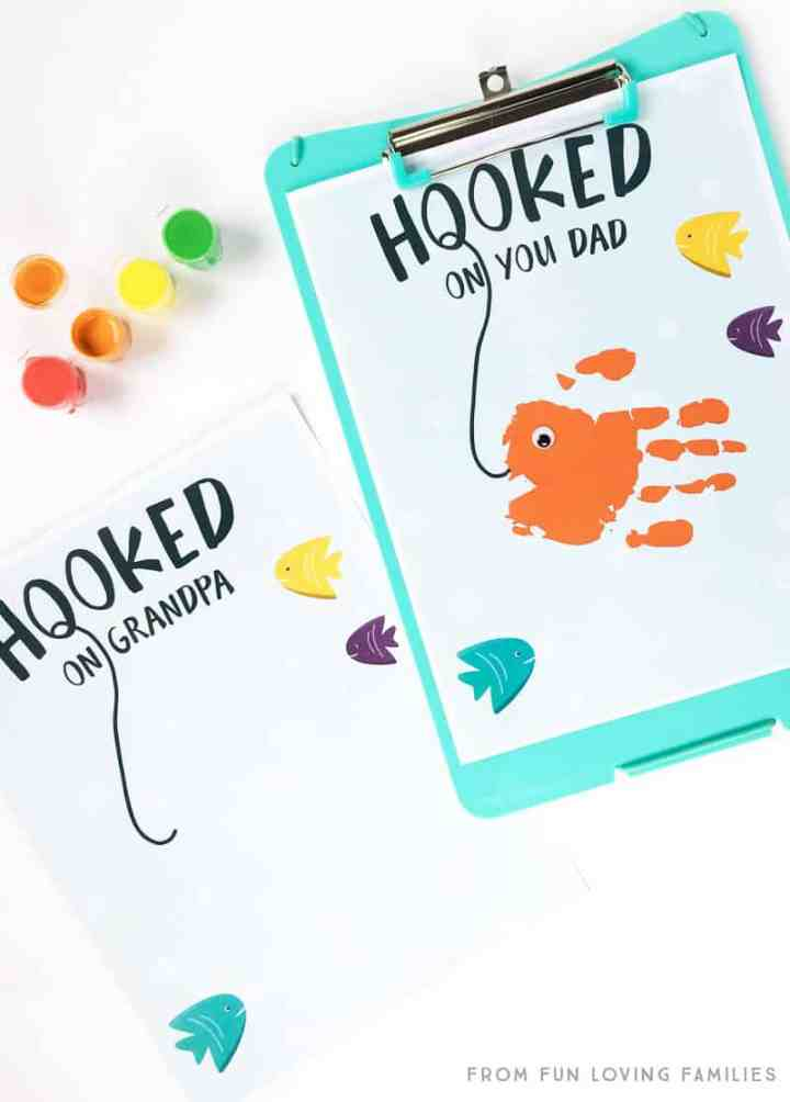 Hooked On You handprint fish printable for Father's Day