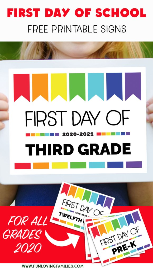 set of colorful signs for first day of school photos 2020.