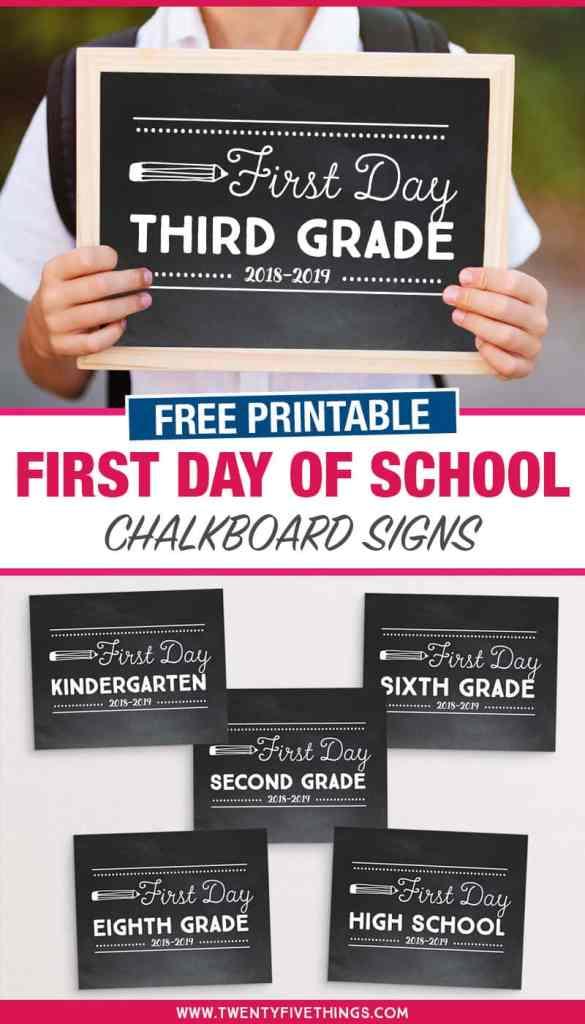firsd day of school chalkboard signs preschool kindergarten and more