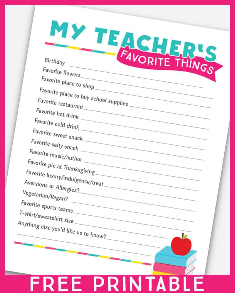 photograph about Teacher Favorite Things Questionnaire Printable titled 10 Again Toward Higher education Trainer Present Programs - Pleasurable Loving Households