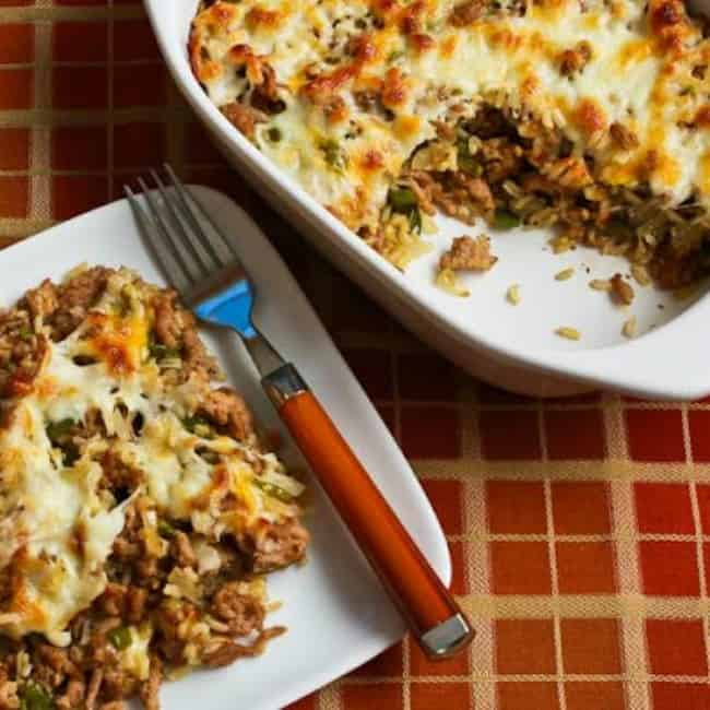 Easy brown rice casserole from Kalyn's Kitchen. Easy casserole recipes.