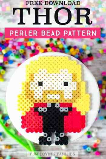 Marvel Thor perler bead pattern download for melty bead crafts. #perlerbeads #meltybeads #avengers #thor #tweencrafts