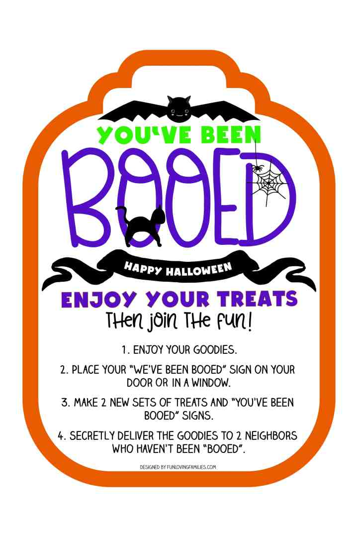 You've been Booed printable sign with cute bat