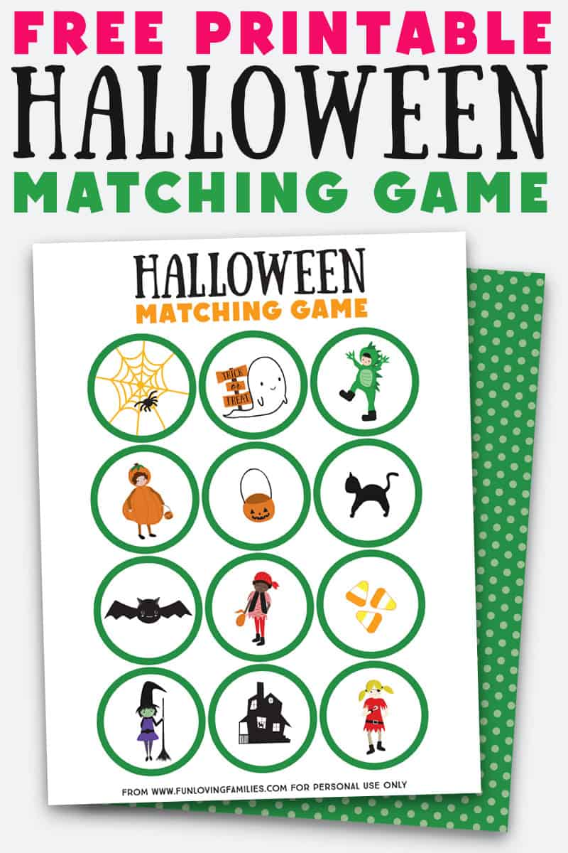 Love this adorable Halloween matching game for kids. Grab the free printable to make this game for a fun kids activity this Halloween! #halloween #game #freeprintable #kidsactivities #funlovingfamilies