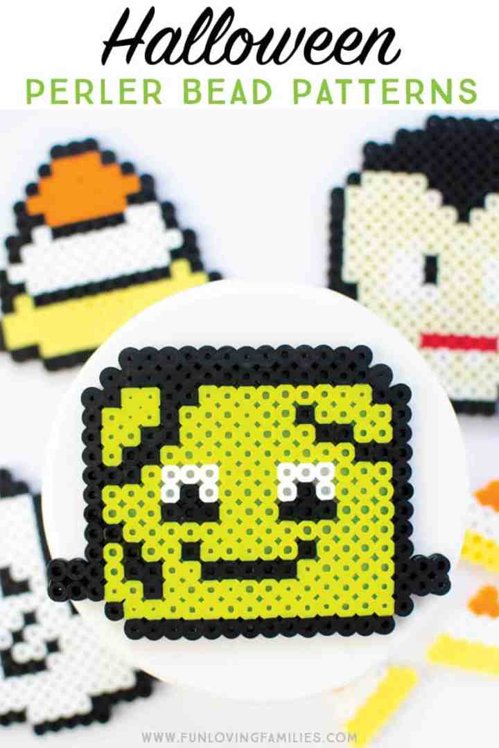 Make easy Halloween kids crafts with these cute Halloween perler bead patterns. #halloween #perlerbeadpatterns #halloweenkidscrafts #kidscrafts