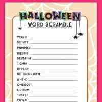 Halloween Word Scramble Activity Sheet